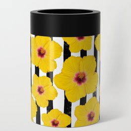Summer Hibiscus Fun on Black & White Stripes Can Cooler