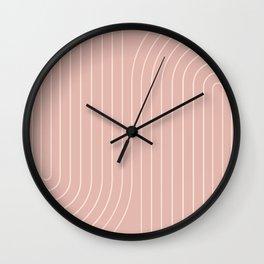 Minimal Line Curvature - Vintage Pink Wall Clock