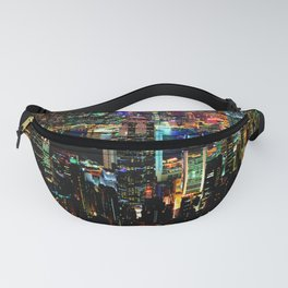 Hong Kong City Skyine Black Night Fanny Pack
