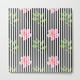 Geometrical black white stripes pink floral Metal Print