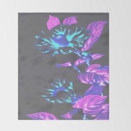 Japanese Flowers Vibrant Aqua Fuchsia Pink Violet Throw Blanket