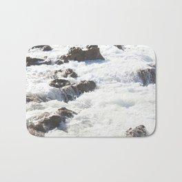 White water, dark rocks Bath Mat