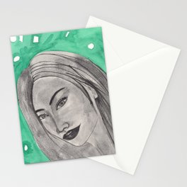 girl infront of a gre bacground Stationery Cards