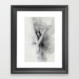 Naked Yoga Watercolor Framed Art Print
