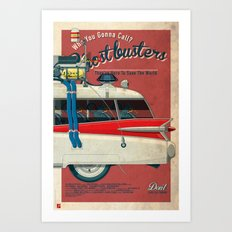 Ghostbusters Ecto-1 Triptych part III of III Art Print