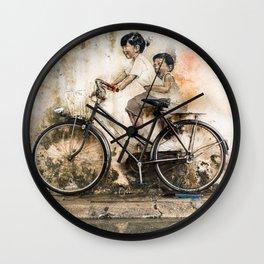 Kids on Bicycle - Reflections of Penang Wall Clock