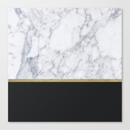 MARBLE GOLD BLACK Canvas Print
