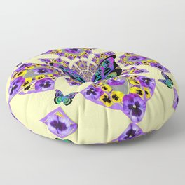 PURPLE  PANSIES & EXOTIC BUTTERFLY GEOMETRIC DESIGN Floor Pillow