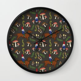 GNOME & DACHSHUND IN THE MUSHROOM FOREST/SOFT BLACK BACKGROND Wall Clock