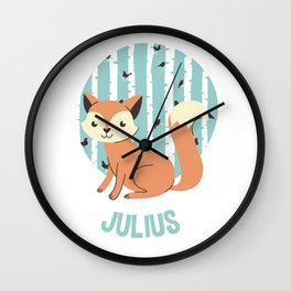 Cute Fox on a Forest Background Wall Clock
