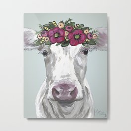 Flower Crown Cow, Cute Cow Art, Farm Animal Painting Metal Print