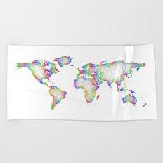 Rainbow World map Beach Towel