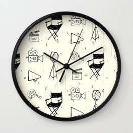 Filmmaking Pattern // Ink Drawing Wall Clock