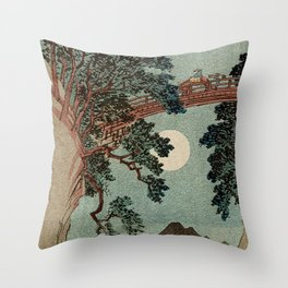 Saruhashi Bridge in Kai Province Japan Throw Pillow