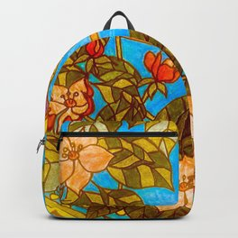 Colourful Yellow Parakeet In Flowery Wreath Backpack