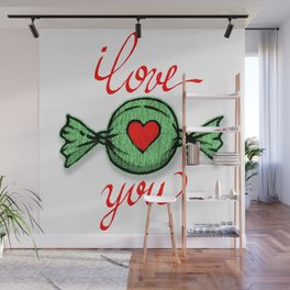 I love you (green) written in red Wall Mural