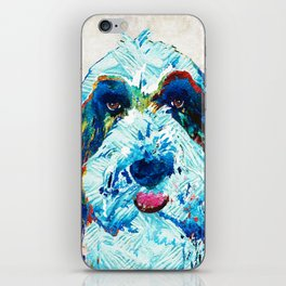 Bearded Collie Art - Dog Portrait by Sharon Cummings iPhone Skin