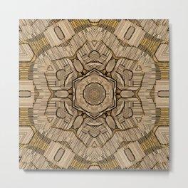 vintage mandala real style in wood for peace Metal Print