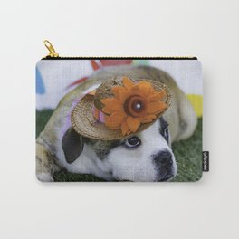 English Bulldog Puppy Wearing a Straw Hat with Bright Orange Flower for Spring Carry-All Pouch
