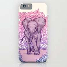 Cute Baby Elephant in pink, purple & blue iPhone 6 Slim Case