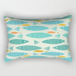 Shimmering Scandinavian Fish In Blue And Gold Pattern Rectangular Pillow