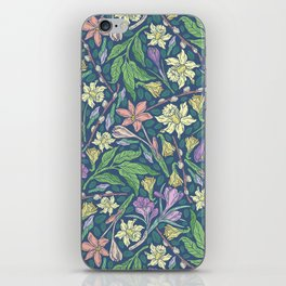 Yellow jonquil with purple crocuses and willow branches on dark background iPhone Skin