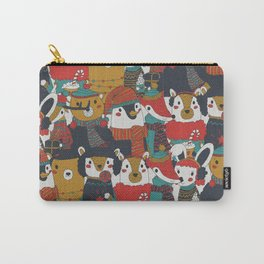 Funky Retro Christmas Animals Carry-All Pouch