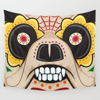 pit bull Wall Tapestries featuring Pit Bull Sugar Skull by Granman