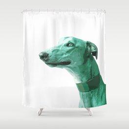 Green Greyhound. Pop Art portrait. Shower Curtain