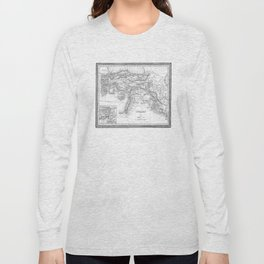 Vintage Map of Turkey (1850) BW Long Sleeve T-shirt
