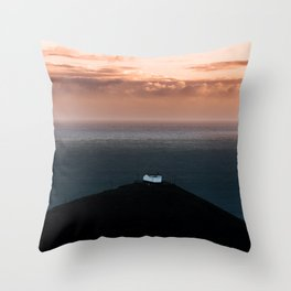 Lonely House by the Sea during Sunset - Landscape Photography Throw Pillow