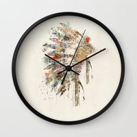 headdress Wall Clocks featuring headdress by bri.buckley