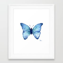 Blue Butterfly Watercolor Framed Art Print