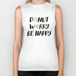 Donut Worry Be Happy (Black) Biker Tank
