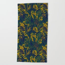 Mustard Navy Jungle Beach Towel