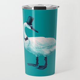 Funny Swan With Bowtie And Cylinder Hat Travel Mug