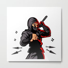 black ninja cartoon. Metal Print