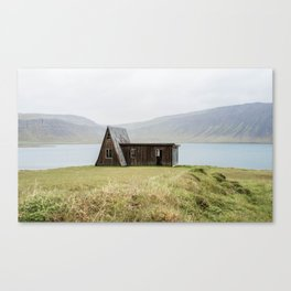 House in front of the lake Canvas Print