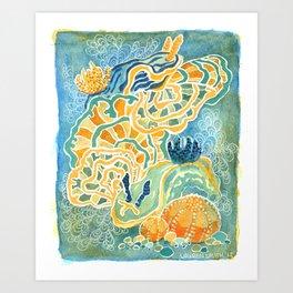 Nudibranchs and coral Art Print