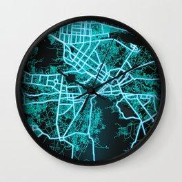 Kabul, Afghanistan, Blue, White, Neon, Glow, City, Map Wall Clock