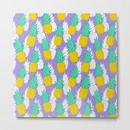 Pineapples on violet Metal Print