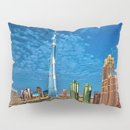 Burj Khalifa Skyscraper Dubai United Arab Emirates (UAE) City Lights Portrait Pillow Sham