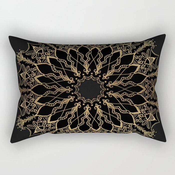 Golden Bee Mandala Rectangular Pillow