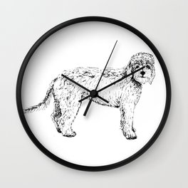 Labradoodle/Goldendoodle Ink Drawing Wall Clock