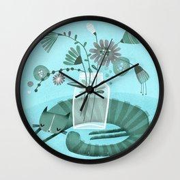 MASON JAR CAT Wall Clock