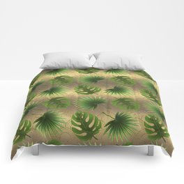 Tropical Leaves Gold Great Gatsby Comforters