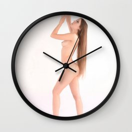 1358-JAL Beautiful Long Hair Woman Standing Nude Wall Clock