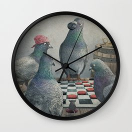 The Antlered Ship_Pigeons Playing Checkers Wall Clock