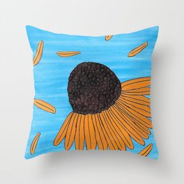 Mexican Yellow Big Headed Flower Cabezona Throw Pillow