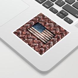 Coral Pink Patriotic Chevrons Digital Camo Sticker